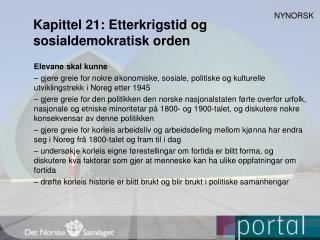 Kapittel 21:  Etterkrigstid og sosialdemokratisk orden