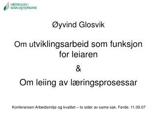 Øyvind Glosvik Om u tviklingsarbeid som funksjon for leiaren &  Om leiing av læringsprosessar