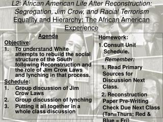 L2: African American Life After Reconstruction: Segregation, Jim Crow, and Racial Terrorism