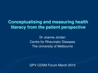 Conceptualising and measuring health literacy from the patient perspective