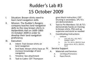 Rudder's Lab #3 15 October 2009