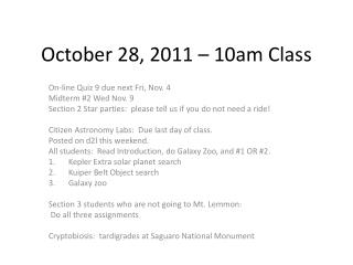 October 28, 2011 – 10am Class