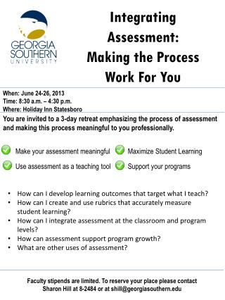 Integrating Assessment : Making the Process Work For You