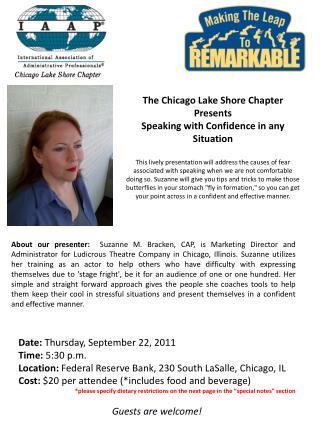 Date:  Thursday, September 22, 2011 Time:  5:30 p.m.