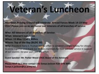 Veteran's Luncheon