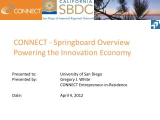 CONNECT - Springboard Overview Powering the Innovation Economy