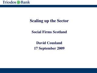 Scaling up the Sector Social Firms Scotland David Cousland 17 September 2009