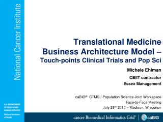 Translational Medicine  Business Architecture Model –  Touch-points Clinical Trials and Pop Sci