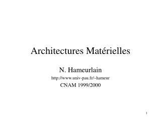Architectures Matérielles