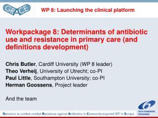 WP 8: Launching the clinical platform