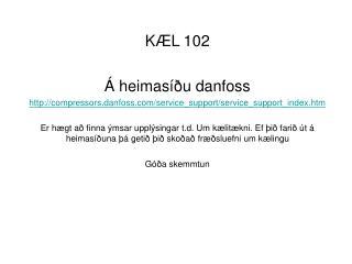 KÆL 102 Á heimasíðu danfoss