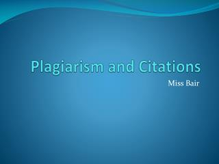Plagiarism and Citations