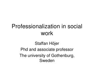 Professionalization in social work
