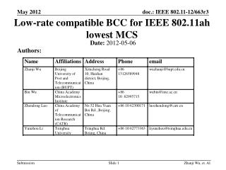 Low-rate compatible BCC for IEEE 802.11ah lowest MCS