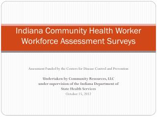 Indiana Community Health Worker Workforce Assessment Surveys