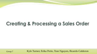 Creating & Processing a Sales Order