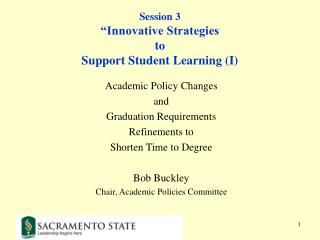 "Session 3 ""Innovative Strategies to Support Student Learning (I)"