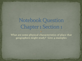 Chapter 1: Geography and Human Geography