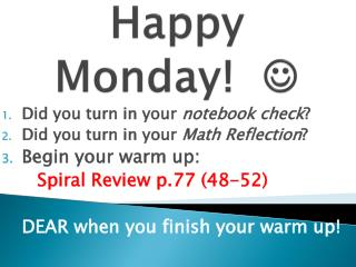 Happy Monday!   
