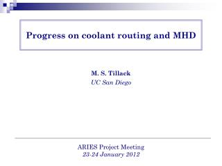 Progress on coolant routing and MHD