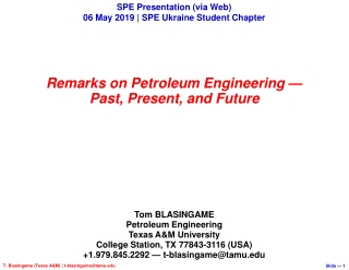 My SPE Distinguished Lecture tour