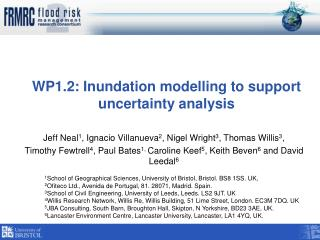WP1.2: Inundation modelling to support uncertainty analysis