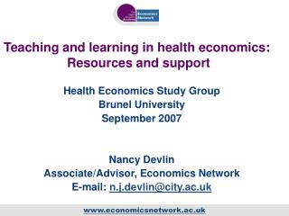 Teaching and learning in health economics:  Resources and support