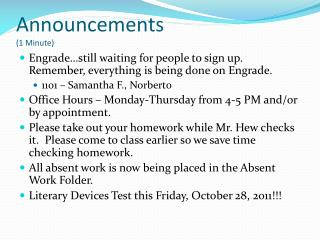 Announcements (1 Minute)