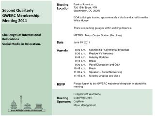 Second Quarterly  GWERC Membership Meeting 2011