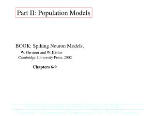 Part II: Population Models
