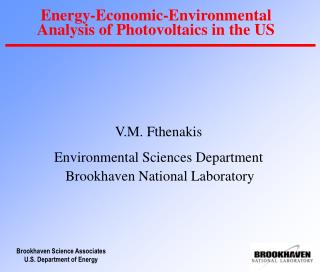 Energy-Economic-Environmental Analysis of Photovoltaics in the US