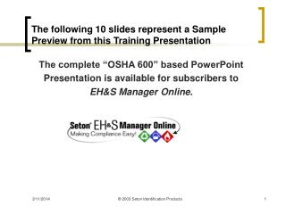 The following 10 slides represent a Sample Preview from this Training Presentation