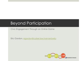 Beyond Participation