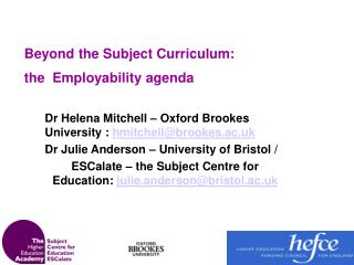 Beyond the Subject Curriculum:  the  Employability agenda