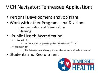 MCH Navigator: Tennessee Applications