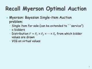 Recall Myerson Optimal Auction