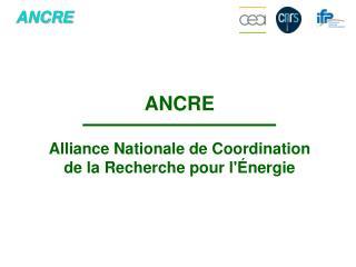 ANCRE Alliance Nationale de Coordination de la Recherche pour l'Énergie