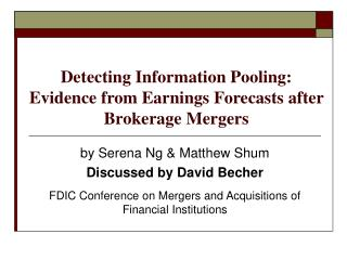 Detecting Information Pooling:  Evidence from Earnings Forecasts after Brokerage Mergers