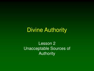Divine Authority