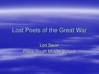 Lost Poets of the Great War