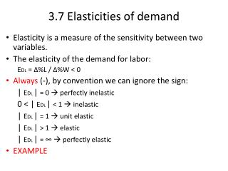3.7  Elasticities of demand