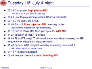 Tuesday 10 th July & night