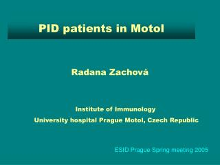 PID patients in Motol