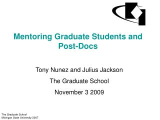 Mentoring Graduate Students and Post-Docs