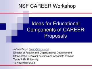Ideas for Educational Components of CAREER Proposals
