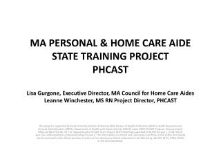 Overview: Massachusetts PHCAST project