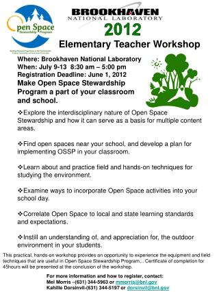 Elementary Teacher Workshop