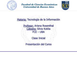 Agenda Presentación Normativas Generales Síntesis del contenido de la materia