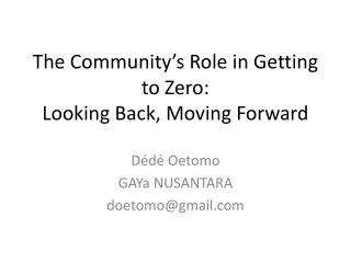 The Community's Role in Getting to Zero: Looking Back, Moving Forward