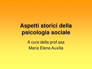 Aspetti storici della psicologia sociale